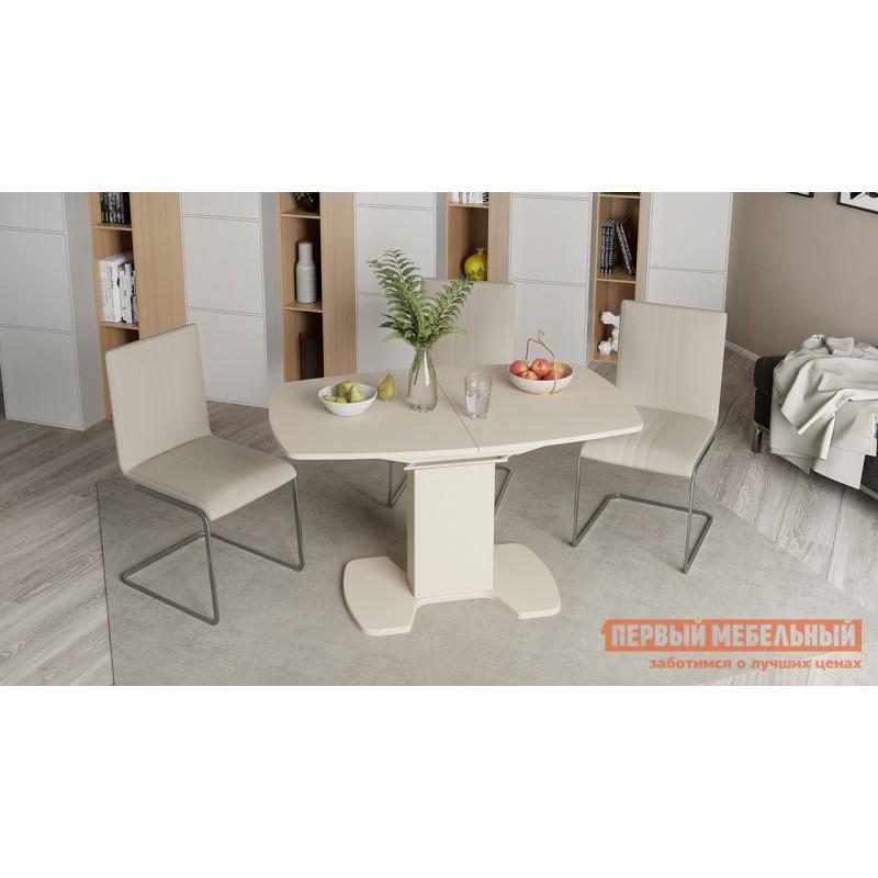 Кухонный стол  Прато 3 Бежевый матовый LUX / Стекло бежевое матовое LUX, Средний (фото 4)