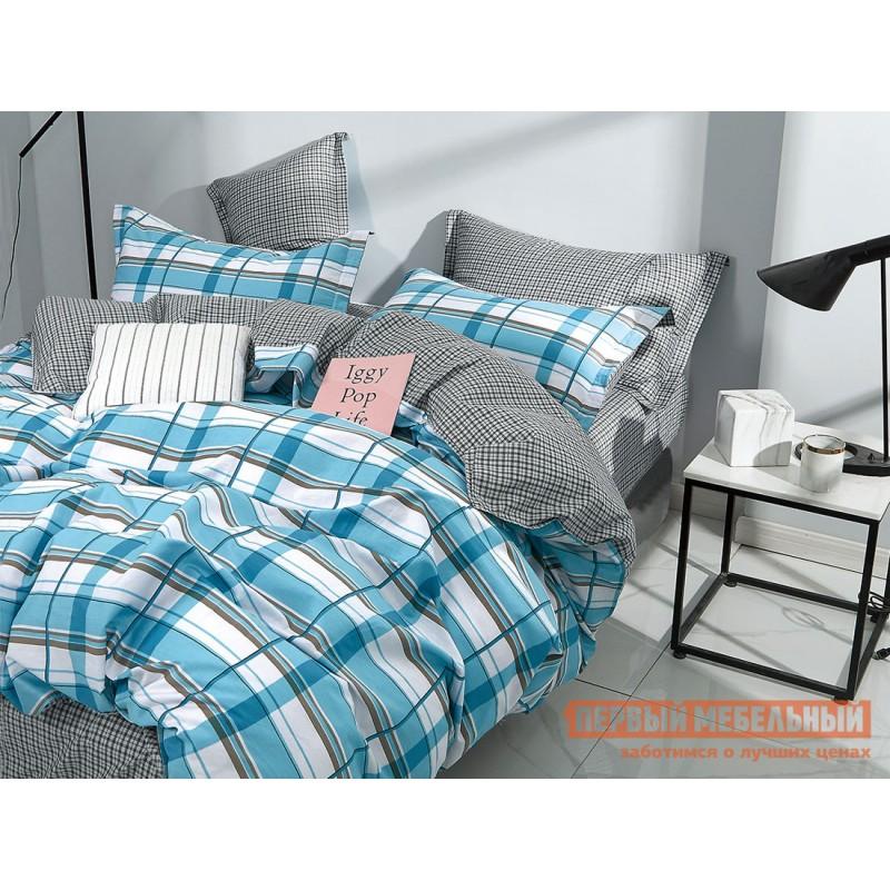 Комплект постельного белья  КПБ сатин Основа Снов голубой, полоска Полоски на голубом, сатин, Полутороспальный