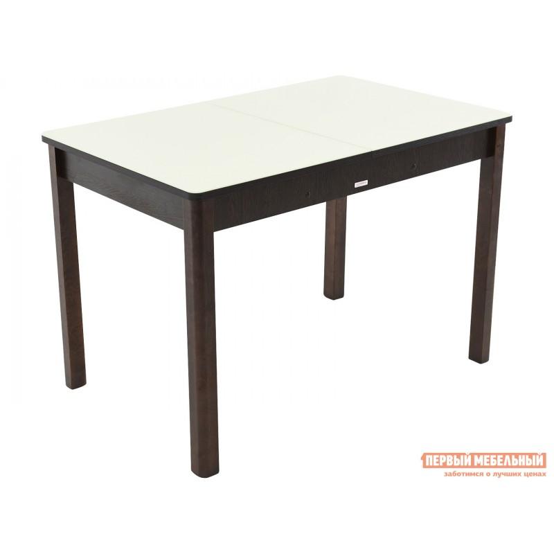Кухонный стол  Гамбург СВ (110/141,5*70) Молочный, стекло / Венге / Орех темный, массив