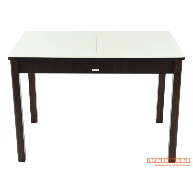 Кухонный стол  Гамбург СВ (110/141,5*70) Молочный, стекло / Венге / Орех темный, массив (фото 2)