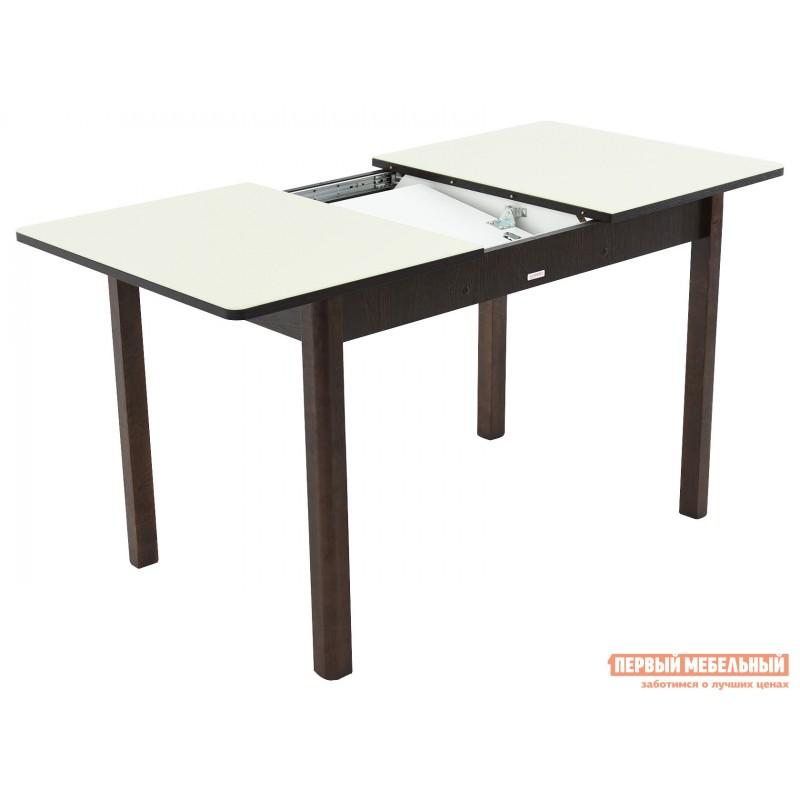 Кухонный стол  Гамбург СВ (110/141,5*70) Молочный, стекло / Венге / Орех темный, массив (фото 3)