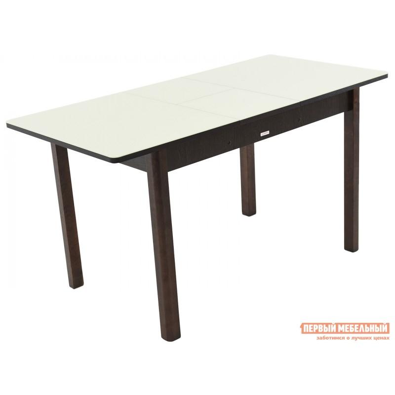Кухонный стол  Гамбург СВ (110/141,5*70) Молочный, стекло / Венге / Орех темный, массив (фото 4)