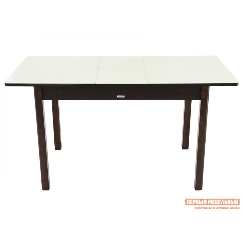 Кухонный стол  Гамбург СВ (110/141,5*70) Молочный, стекло / Венге / Орех темный, массив (фото 5)