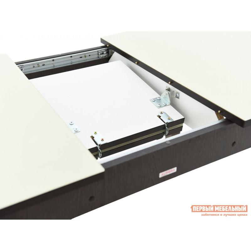 Кухонный стол  Гамбург СВ (110/141,5*70) Молочный, стекло / Венге / Орех темный, массив (фото 6)
