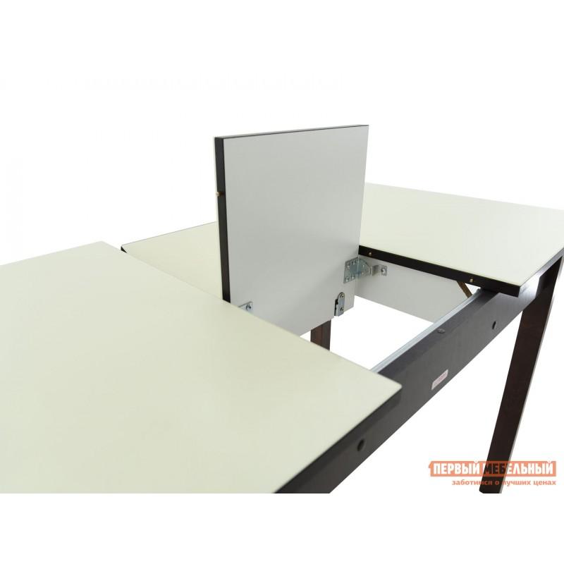 Кухонный стол  Гамбург СВ (110/141,5*70) Молочный, стекло / Венге / Орех темный, массив (фото 8)