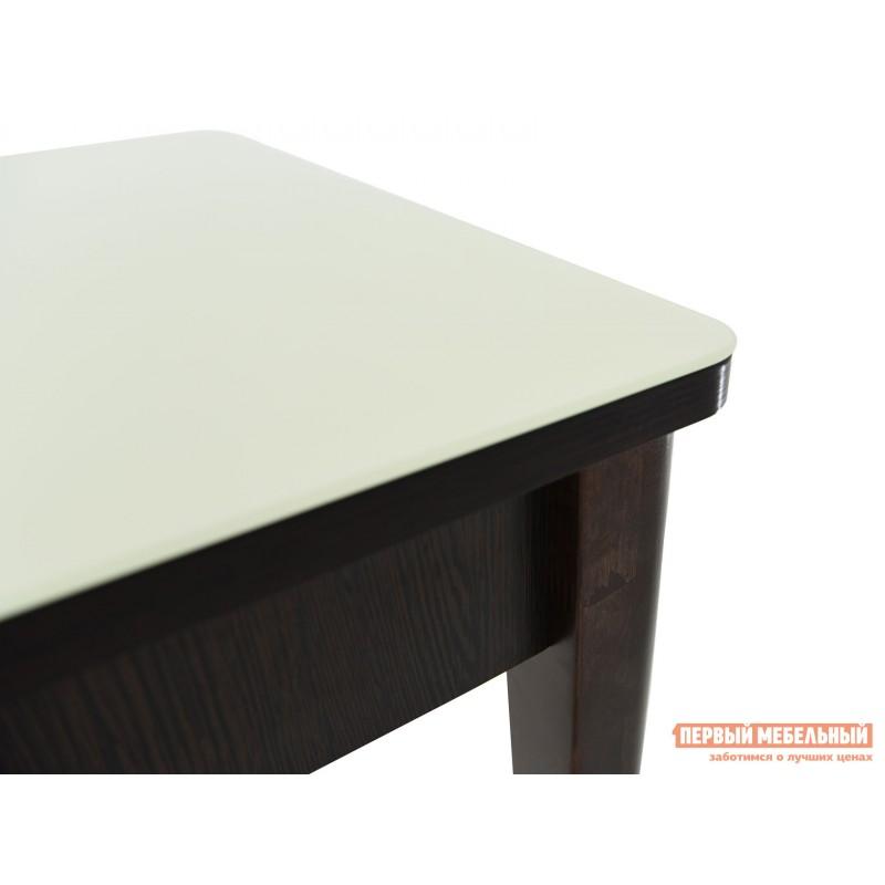 Кухонный стол  Гамбург СВ (110/141,5*70) Молочный, стекло / Венге / Орех темный, массив (фото 9)