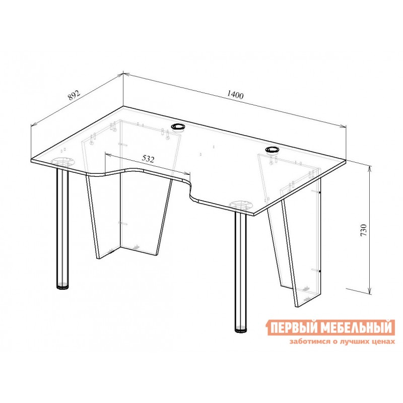 Компьютерный стол  Форсаж-2 Черный (фото 5)