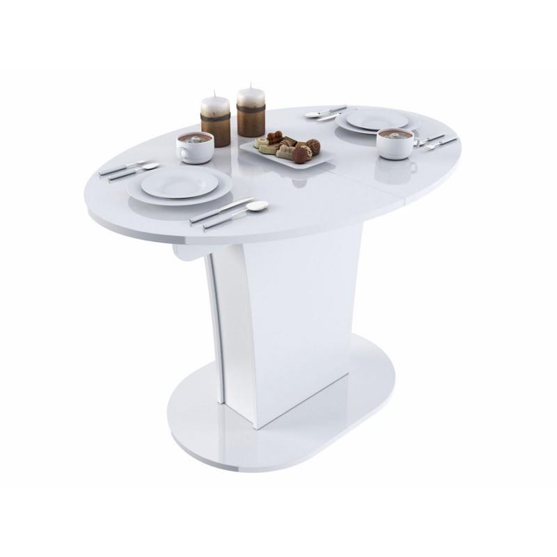 Кухонный стол  Стол обеденный Бергамо 2 NEW овальный Белый глянец