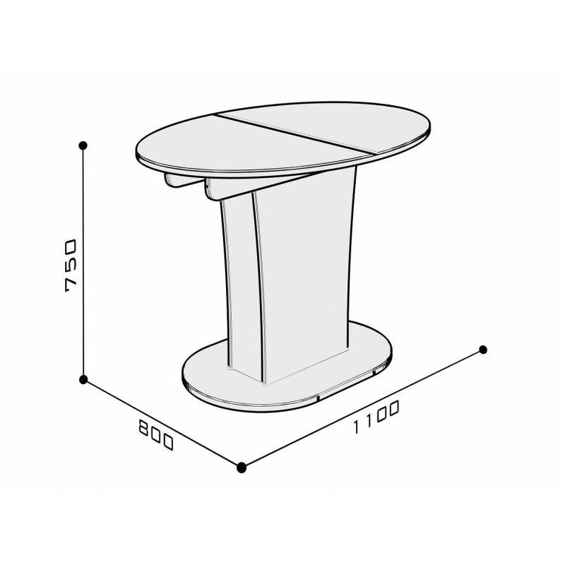 Кухонный стол  Стол обеденный Бергамо 2 NEW овальный Белый глянец (фото 3)