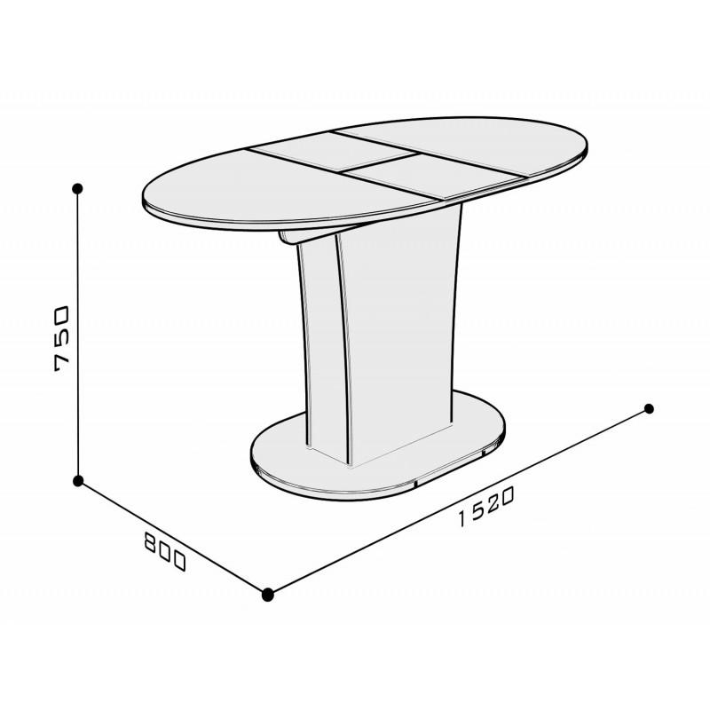 Кухонный стол  Стол обеденный Бергамо 2 NEW овальный Белый глянец (фото 4)