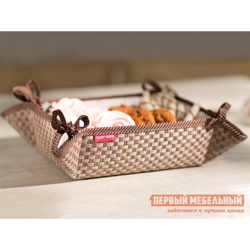 Хлебница  Хлебница 20х13х7см Коричневый, текстилен / Бежевый, цветы (фото 3)