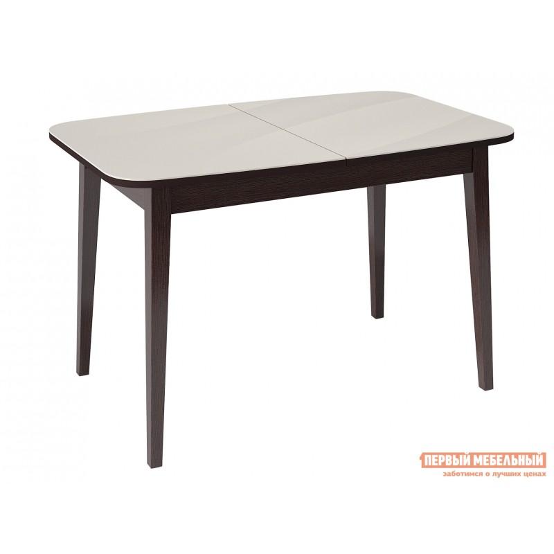 Кухонный стол  Стол KENNER 1200М Венге / Крем стекло глянец