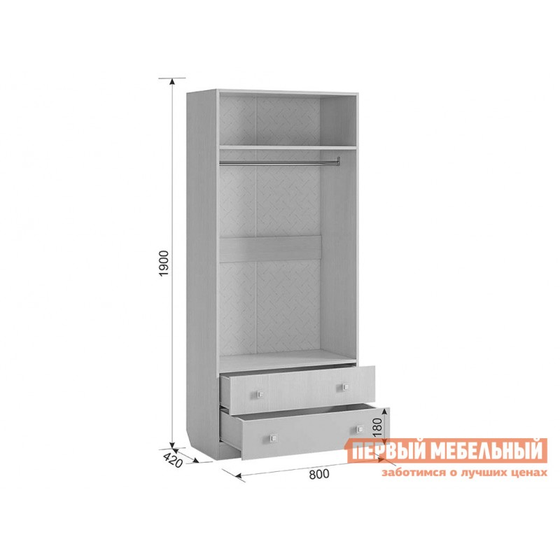 Шкаф детский  MKB-01 Бонни Шкаф комбинированный (с ящ. 2-створчатый) Белый Рамух / Кэнди (фото 5)