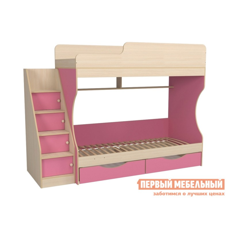 Кровать  Кровать двухъярусная с ящиками Р443 Капризун 6 Розовый / Дуб млечный