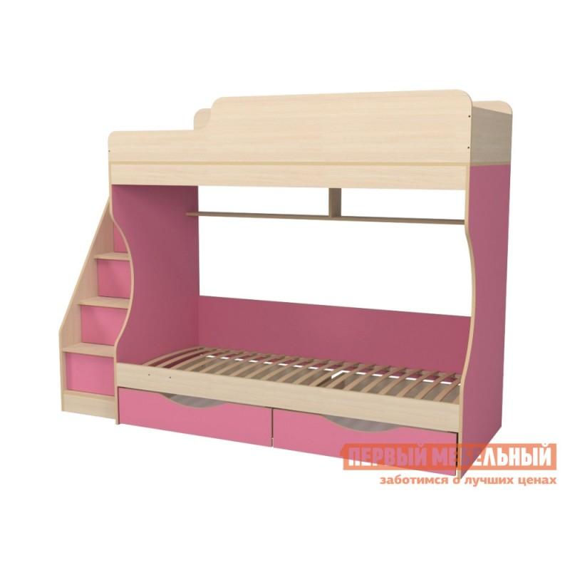 Кровать  Кровать двухъярусная с ящиками Р443 Капризун 6 Розовый / Дуб млечный (фото 2)