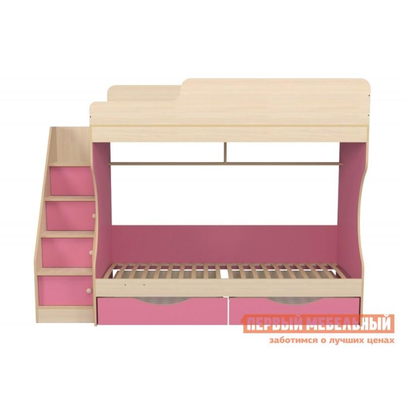 Кровать  Кровать двухъярусная с ящиками Р443 Капризун 6 Розовый / Дуб млечный (фото 3)