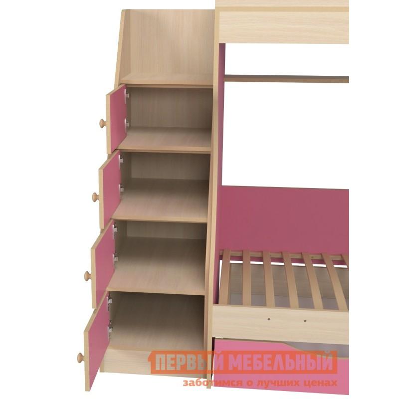 Кровать  Кровать двухъярусная с ящиками Р443 Капризун 6 Розовый / Дуб млечный (фото 4)