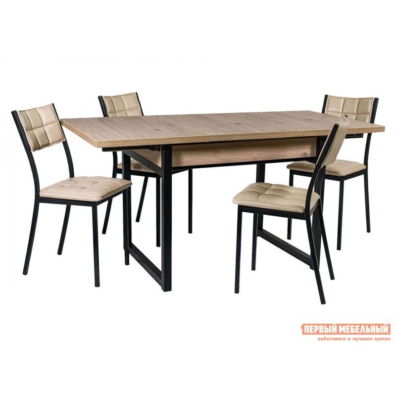 Обеденная группа для столовой и гостиной  Стол АРТ + 4 Стула Дункан Эврика ЛДСП / Pegas, экокожа / Черный матовый