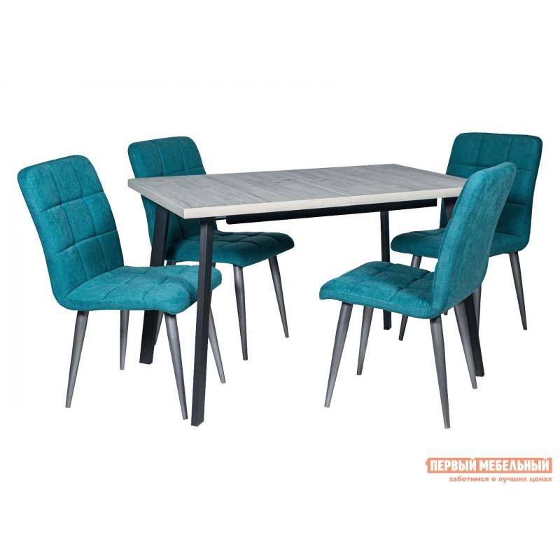 Обеденная группа для столовой и гостиной  Стол Каспер + 4 Стула Даллас Наоми ЛДСП / Графит / Канди аквамарин, велюр / Металлик