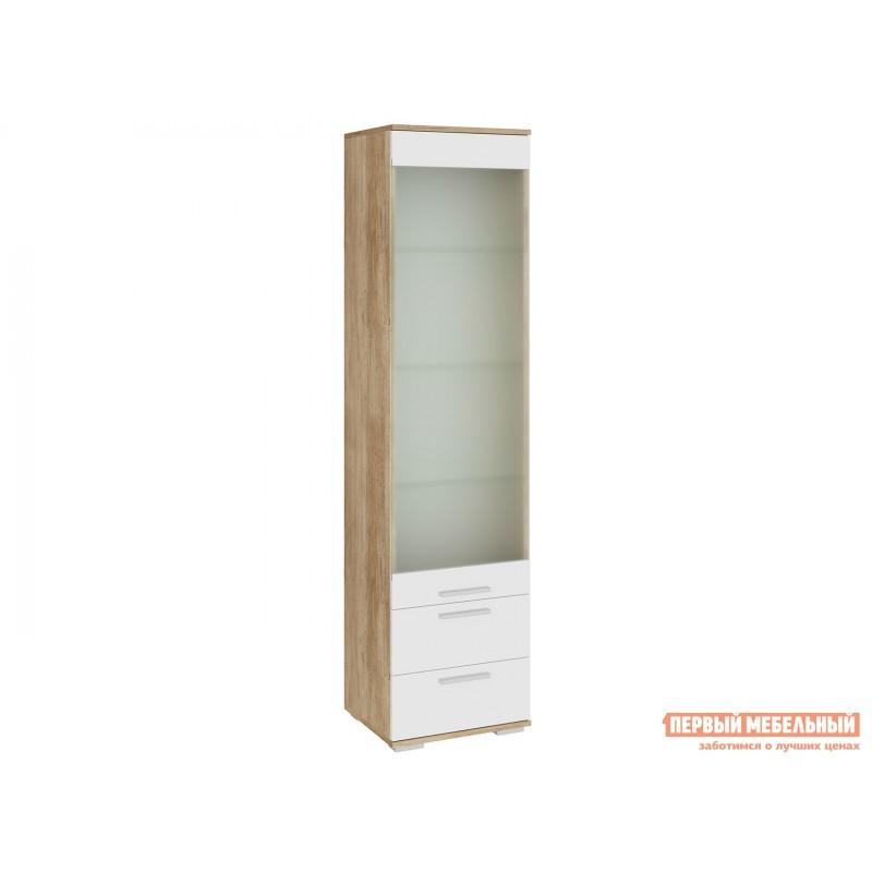 Шкаф-витрина  Витрина Лейла с 2 ящиками Дуб каньон / Белый глянец