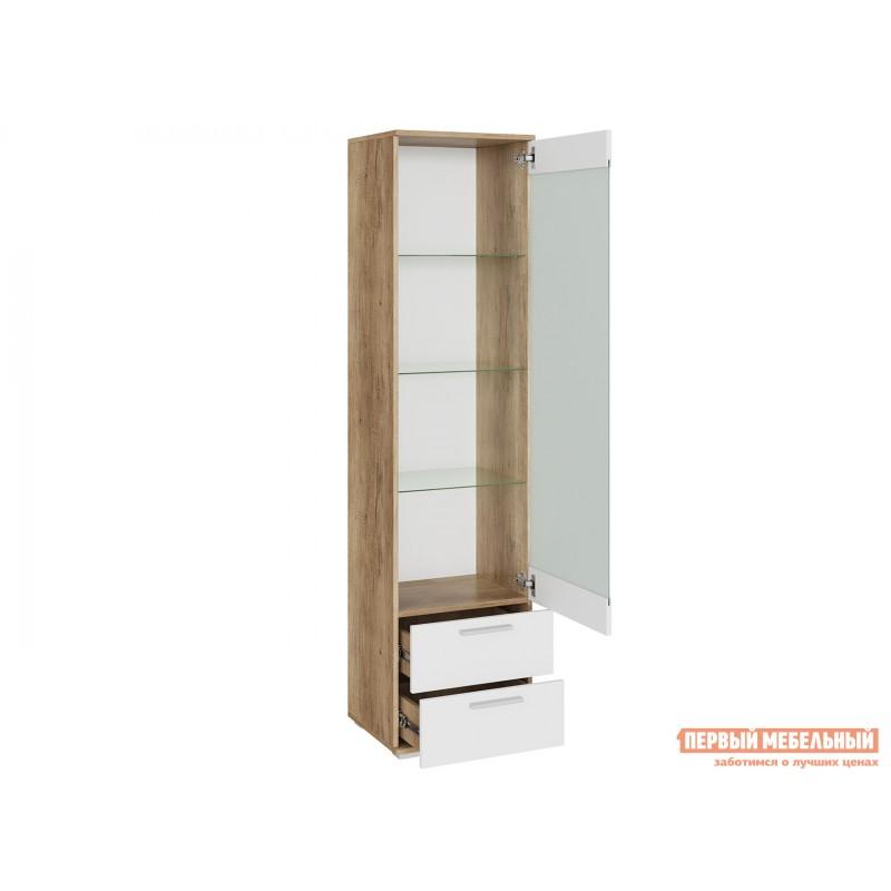 Шкаф-витрина  Витрина Лейла с 2 ящиками Дуб каньон / Белый глянец (фото 2)