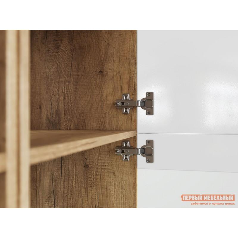 Шкаф-витрина  Витрина Лейла с 2 ящиками Дуб каньон / Белый глянец (фото 3)