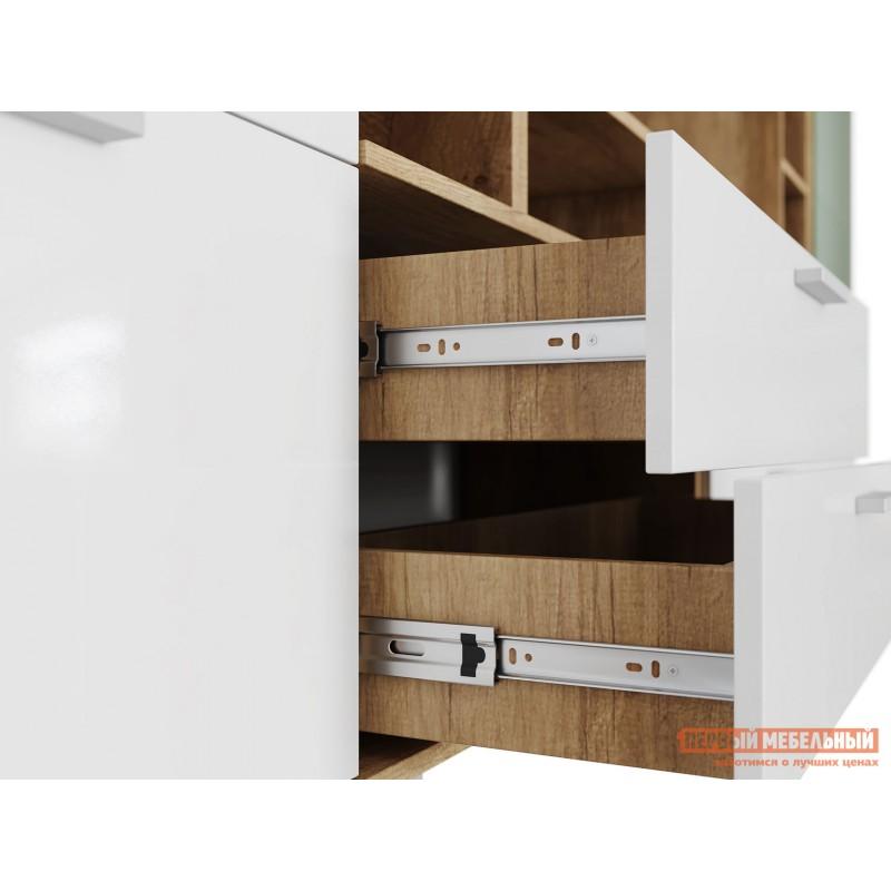 Шкаф-витрина  Витрина Лейла с 2 ящиками Дуб каньон / Белый глянец (фото 4)