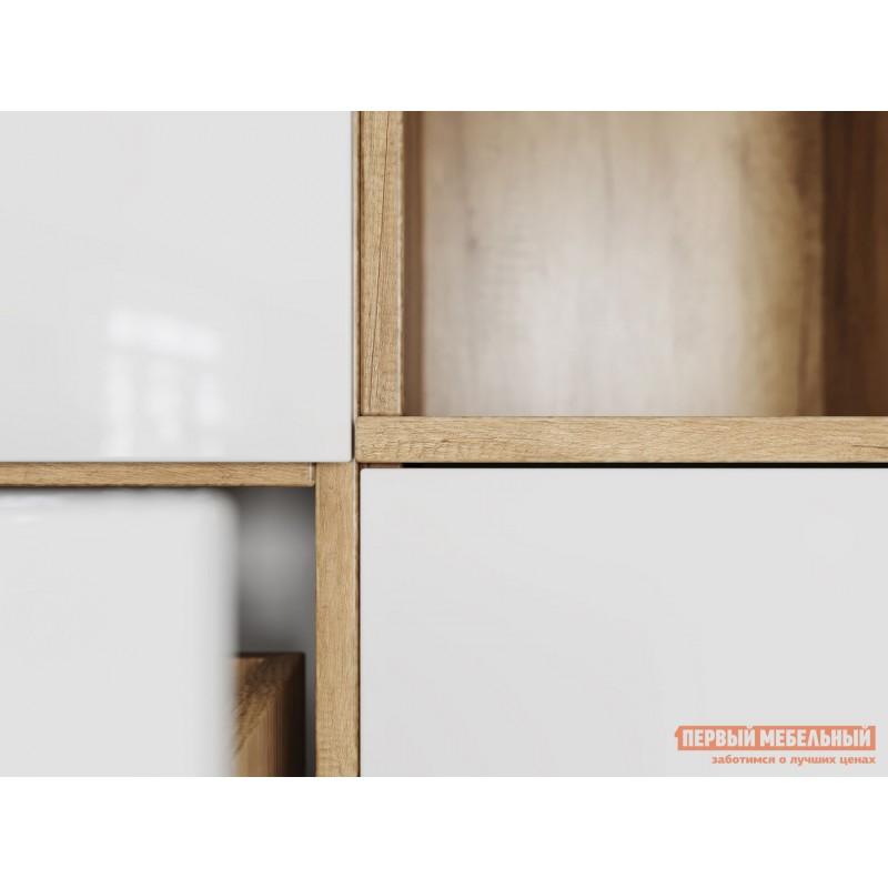 Шкаф-витрина  Витрина Лейла с 2 ящиками Дуб каньон / Белый глянец (фото 5)