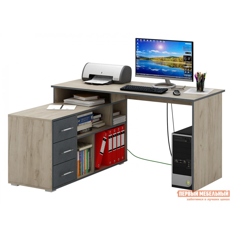 Письменный стол  Краст-2 Дуб крафт / Серый