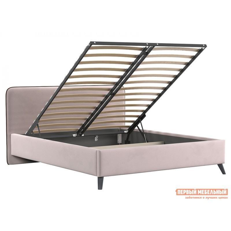 Двуспальная кровать  Кровать с подъемным механизмом Миа 1600 Х 2000 мм, Пудровый, велюр (фото 2)