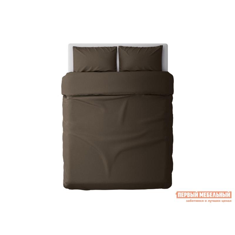 Комплект постельного белья  КПБ сатин однотонный (шоколад ОСНОВА СНОВ) Шоколадный, сатин, Полутороспальный (фото 2)