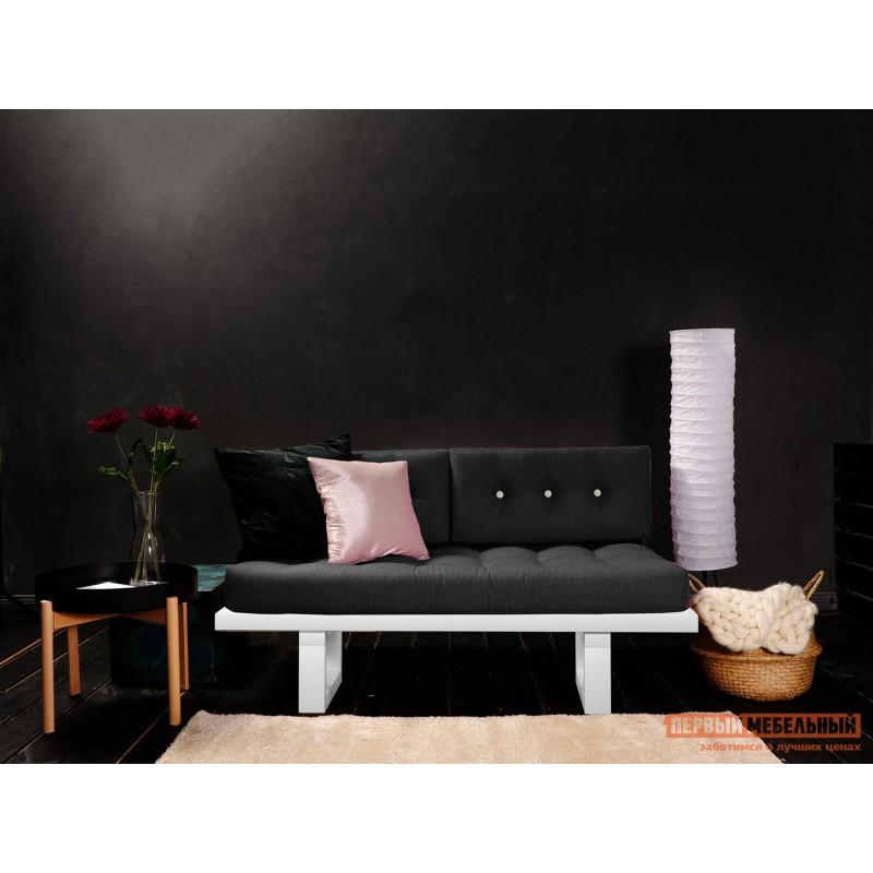 Прямой диван  Кушетка Торн-М (сосна) Белая эмаль, Черный, рогожка (фото 2)