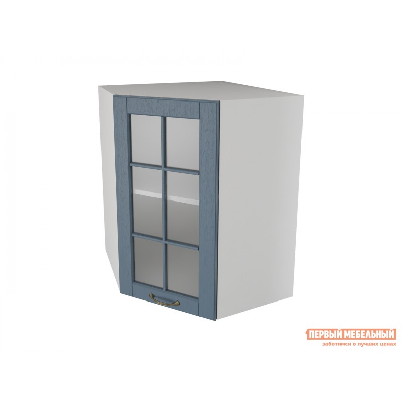 Кухонный модуль  Шкаф угловой трапеция 1 дверь со стеклом 55 см Палермо Деним