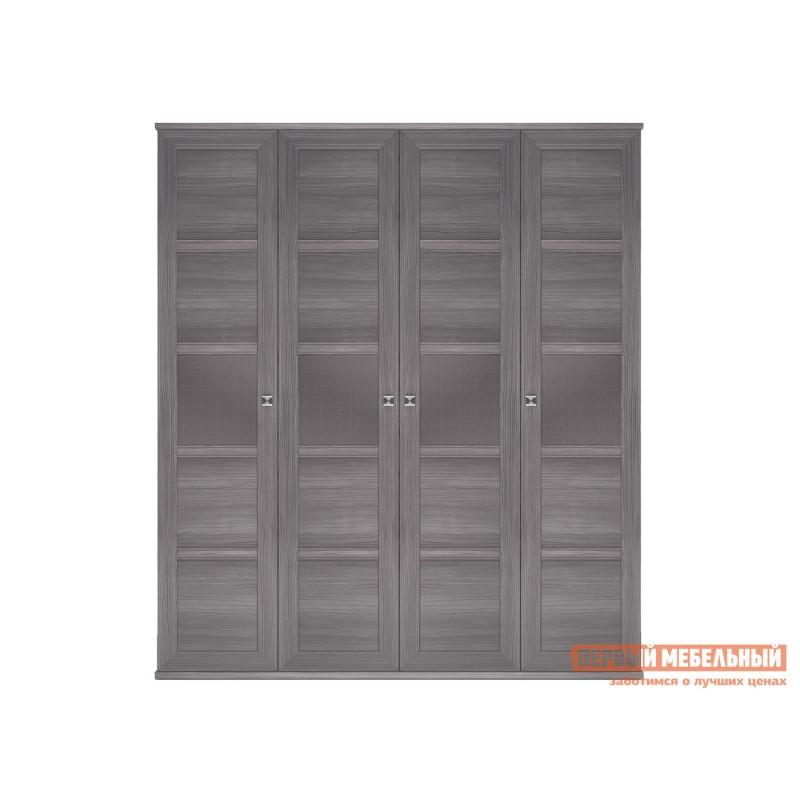 Распашной шкаф  Шкаф 4-х дверный Парма НЕО Лиственница темная / Экокожа дила, С глухими фасадами