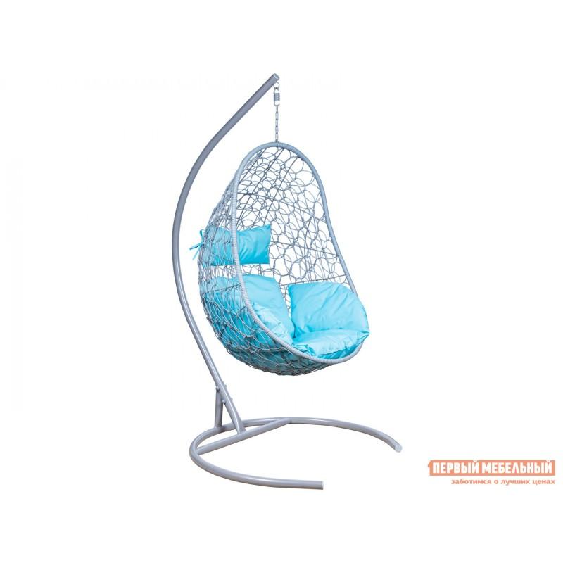 Подвесное кресло  Ажур Серый металлик, ротанг / Бирюза, ткань