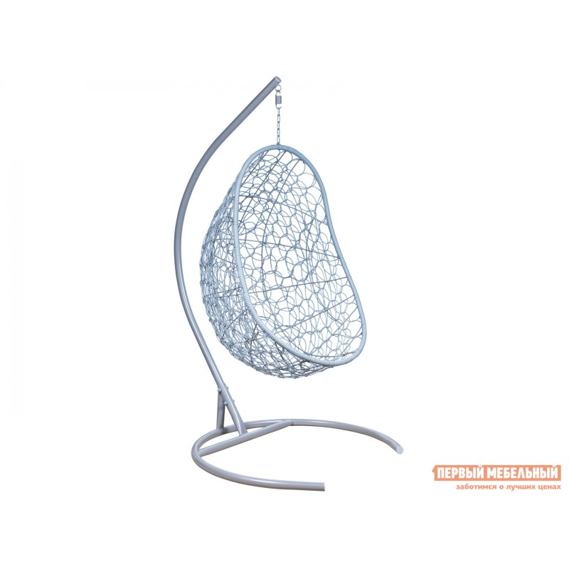 Подвесное кресло  Ажур Серый металлик, ротанг / Бирюза, ткань (фото 2)