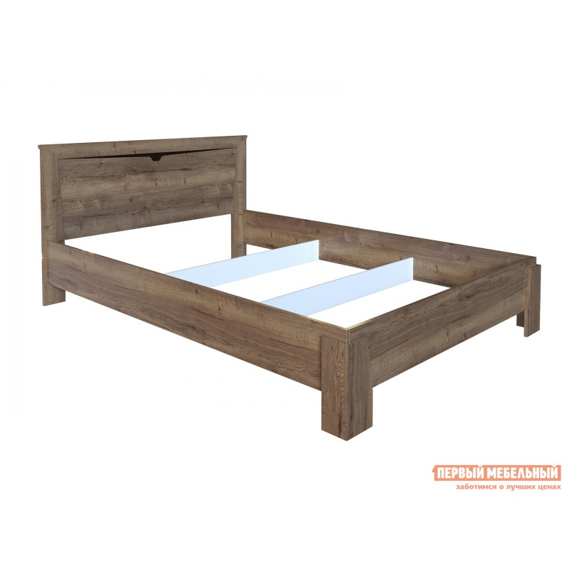 Двуспальная кровать  Кровать Гарда NEW Дуб галифакс Табак, 140х200 см, С основанием, С подъемным механизмом (фото 3)