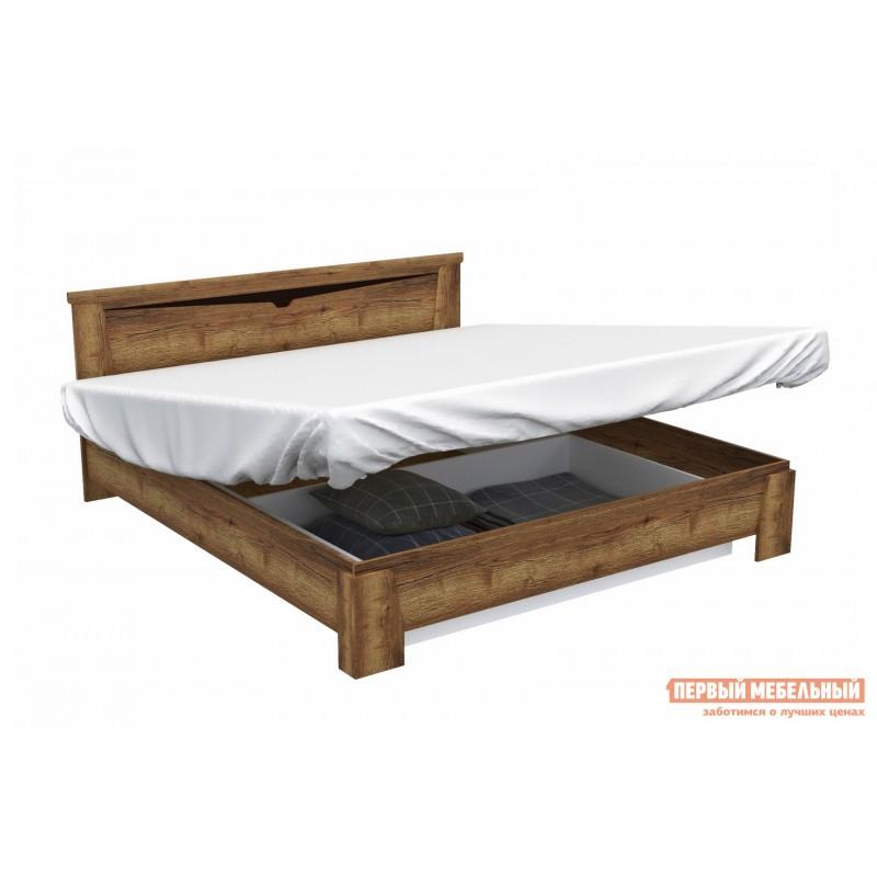 Двуспальная кровать  Кровать Гарда NEW Дуб галифакс Табак, 140х200 см, С основанием, С подъемным механизмом (фото 6)
