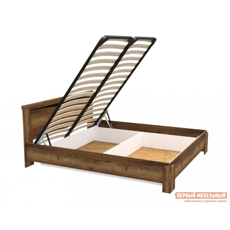 Двуспальная кровать  Кровать Гарда NEW Дуб галифакс Табак, 140х200 см, С основанием, С подъемным механизмом (фото 7)