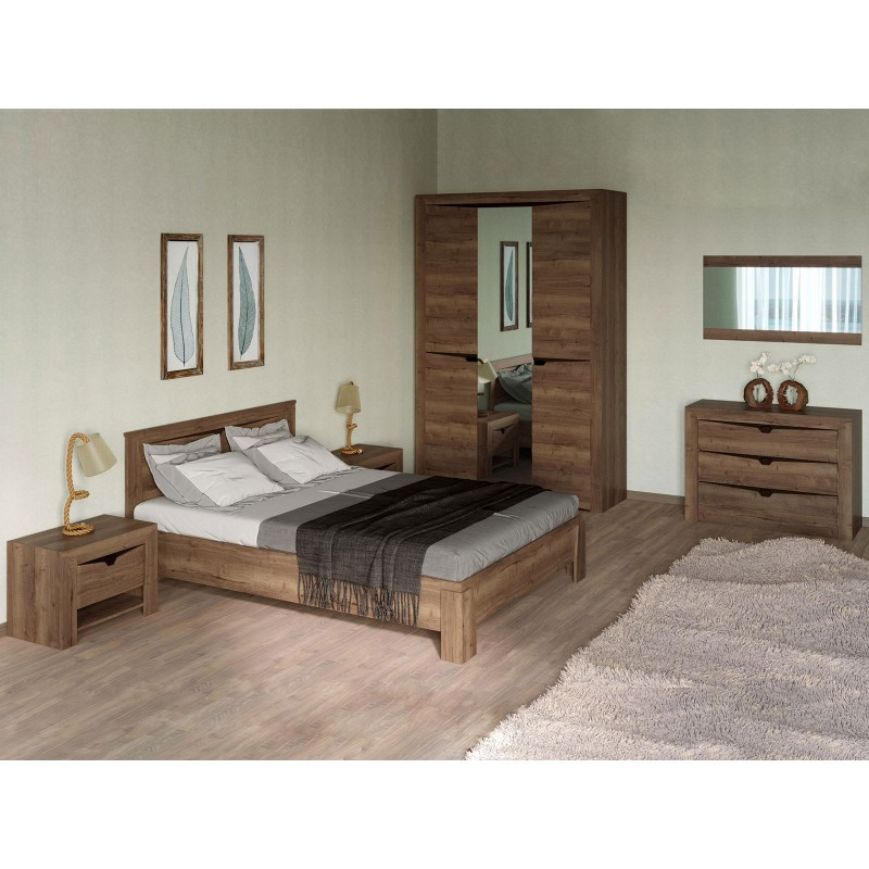 Двуспальная кровать  Кровать Гарда NEW Дуб галифакс Табак, 140х200 см, С основанием, С подъемным механизмом (фото 8)