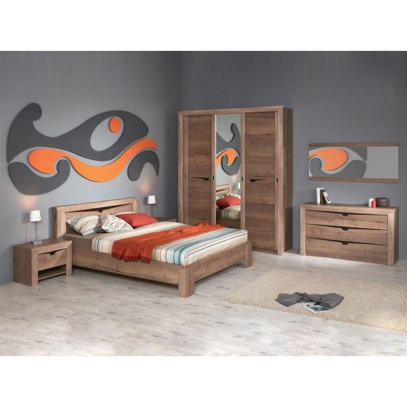 Двуспальная кровать  Кровать Гарда NEW Дуб галифакс Табак, 140х200 см, С основанием, С подъемным механизмом (фото 9)